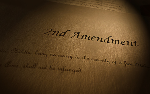 Second Amendment to the US Constitution text on parchment paper
