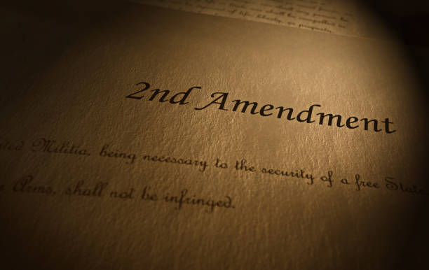 Second Amendment text Second Amendment to the US Constitution text on parchment paper improvement stock pictures, royalty-free photos & images