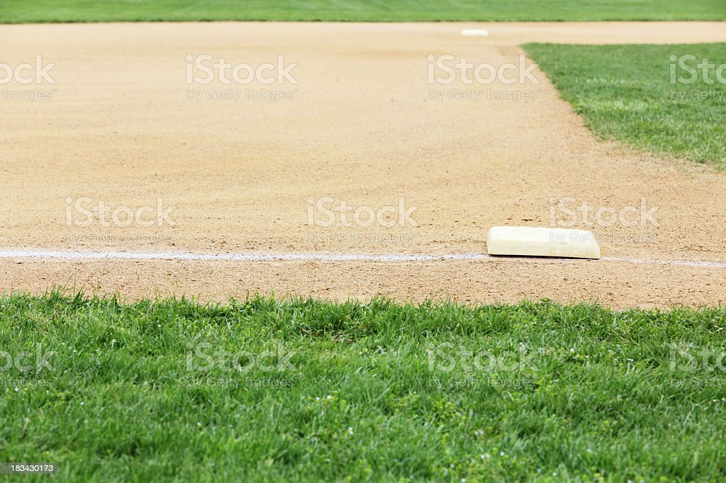 Second and Third Base on a Groomed Baseball Diamond stock photo