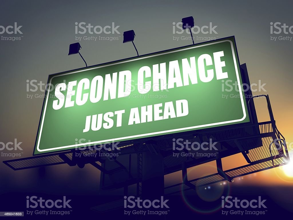 Second Chance Just Ahead on Green Billboard. stock photo