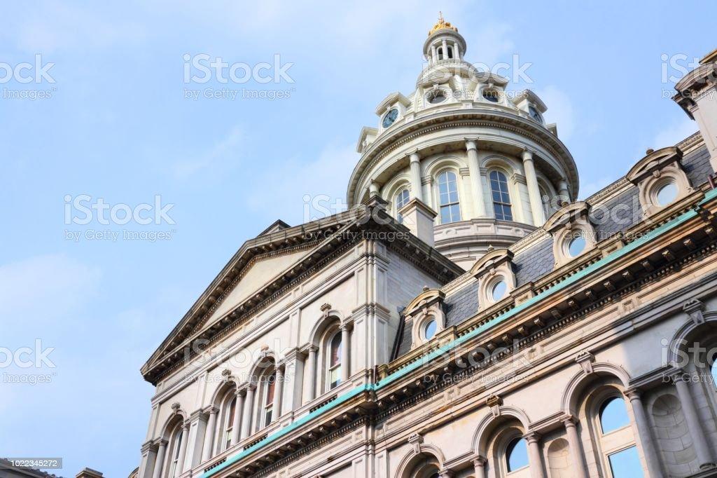 Second Empire architecture Baltimore, Maryland. City Hall building. Second Empire architecture style. Architecture Stock Photo
