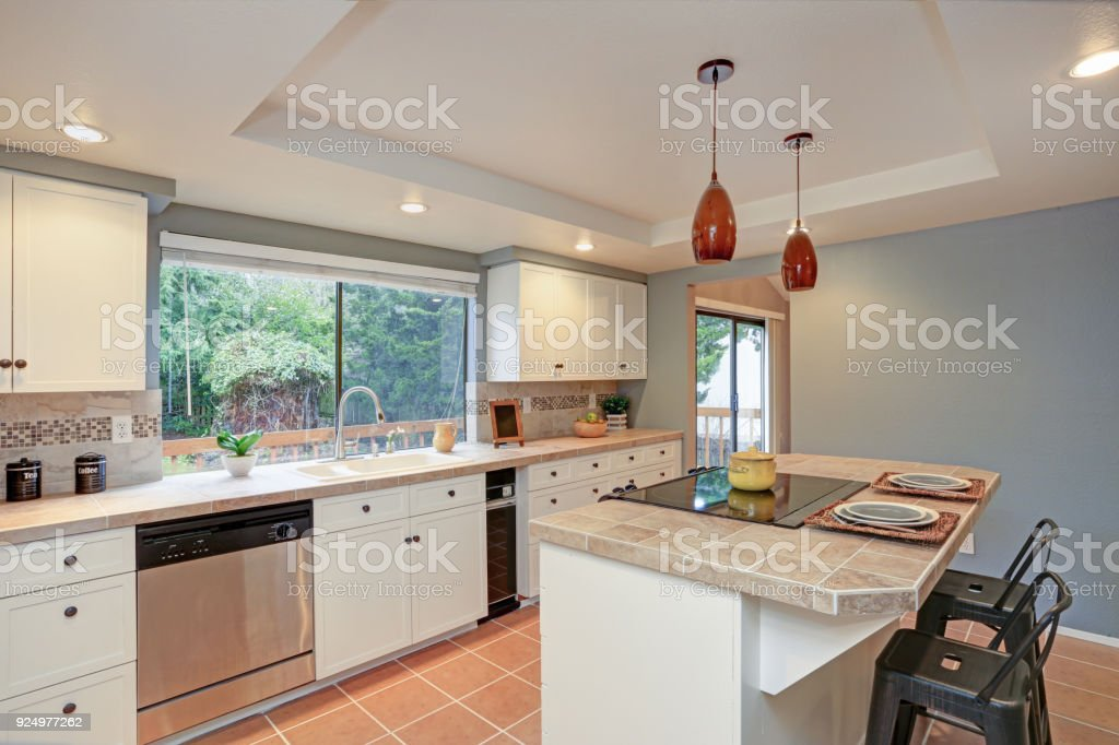 Second Floor Kitchen Boasts Tray Ceiling Island Stock Photo