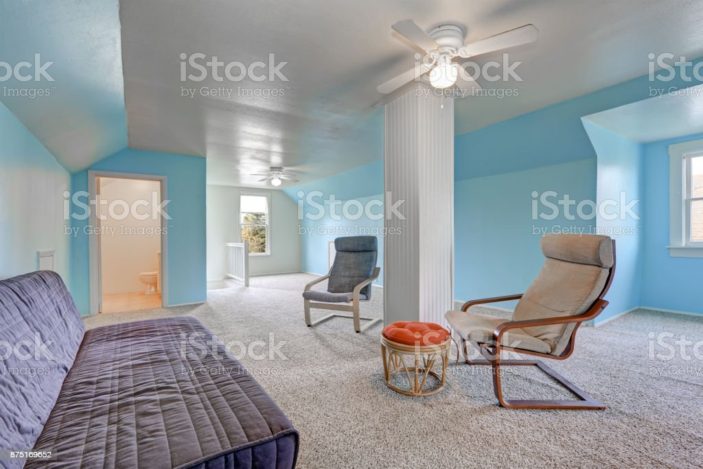 Image of: Second Floor Landing With Blue Walls Stock Photo Download Image Now Istock