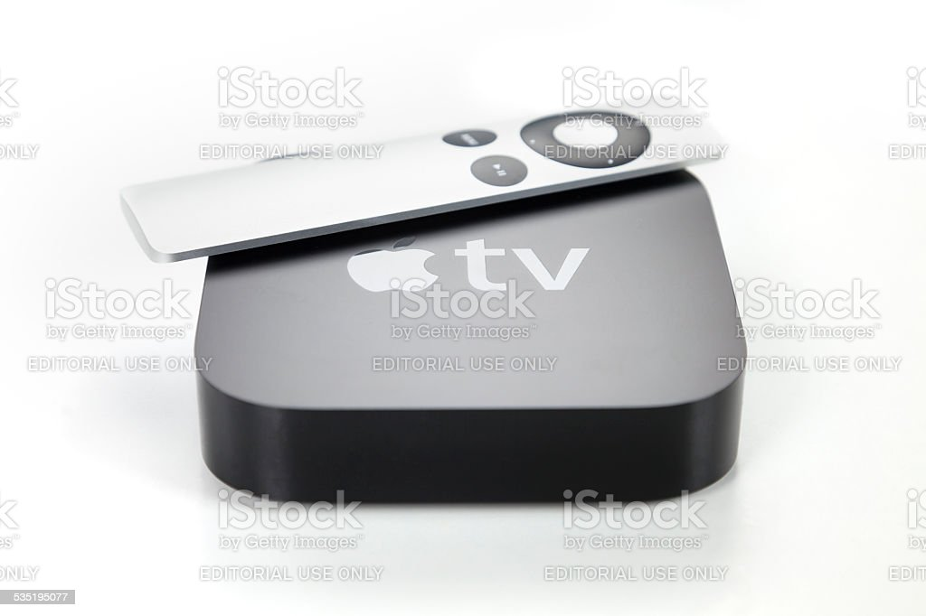 Second generation Apple TV and remote control stock photo