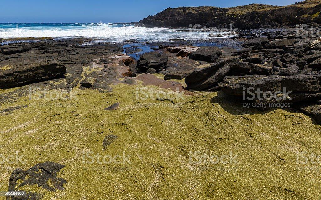 Second (secret) green sand beach, Hawaii stock photo