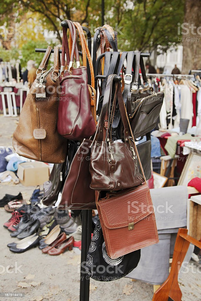 Second hand bags on a rack. stock photo