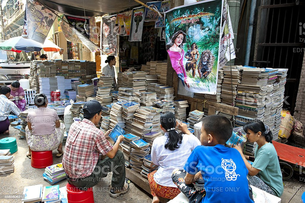 Second Hand Books Stands In Street Of Yangon Myanmar Stock