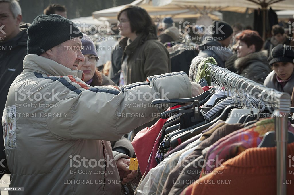 Second hand clothes market stock photo