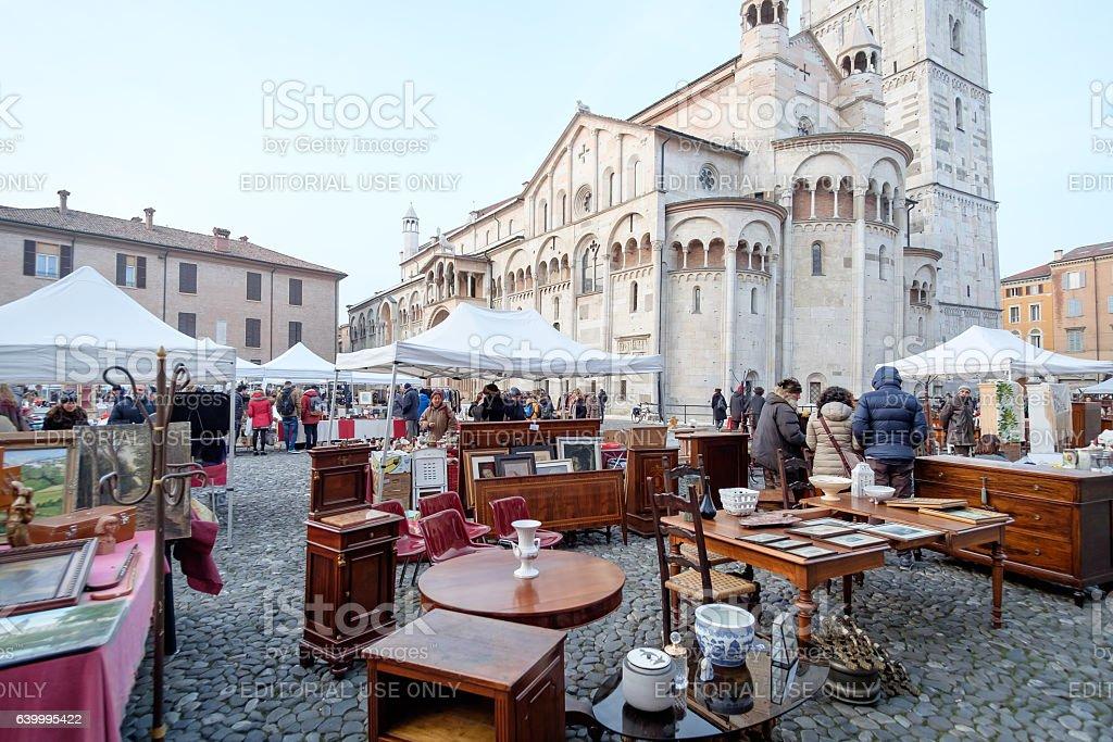 Second hand market in Modena, Italy stock photo