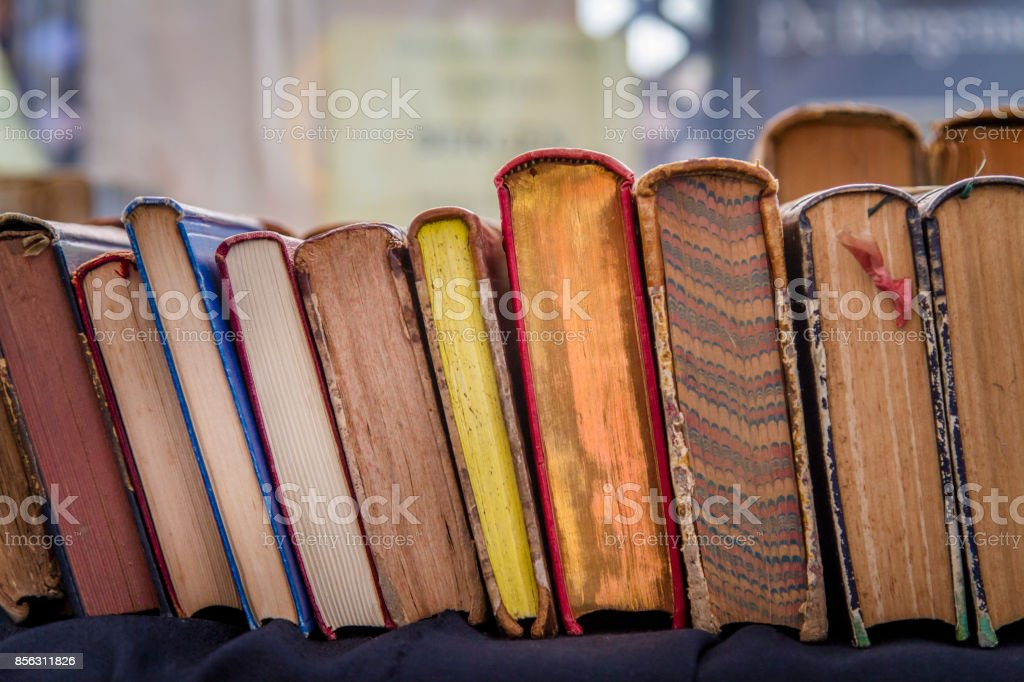 Second hand vintage books stock photo