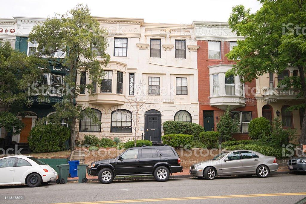 Second Italian Renaissance Revival Style Row House Homes, Washington DC stock photo