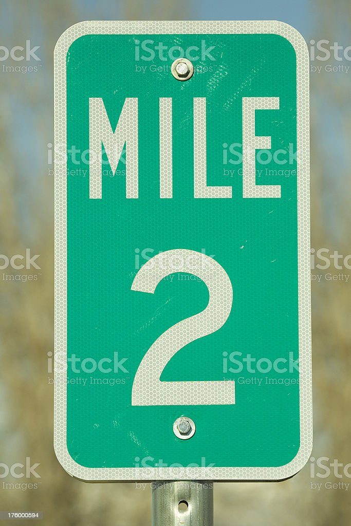 Second Mile Marker stock photo