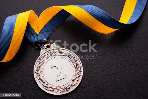 istock Second place runner-up silver medal on a ribbon 1166539969