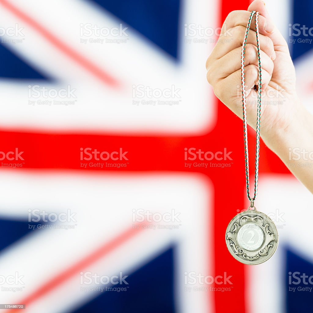 Second place silver generic medals for London 2012 royalty-free stock photo