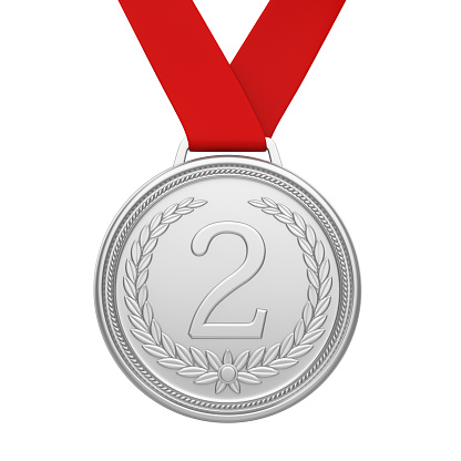 Second Place Silver Medal Isolated Stock Photo - Download Image Now - iStock