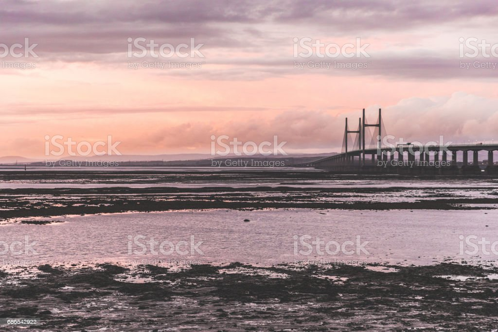 Second Severn bridge at sunset zbiór zdjęć royalty-free