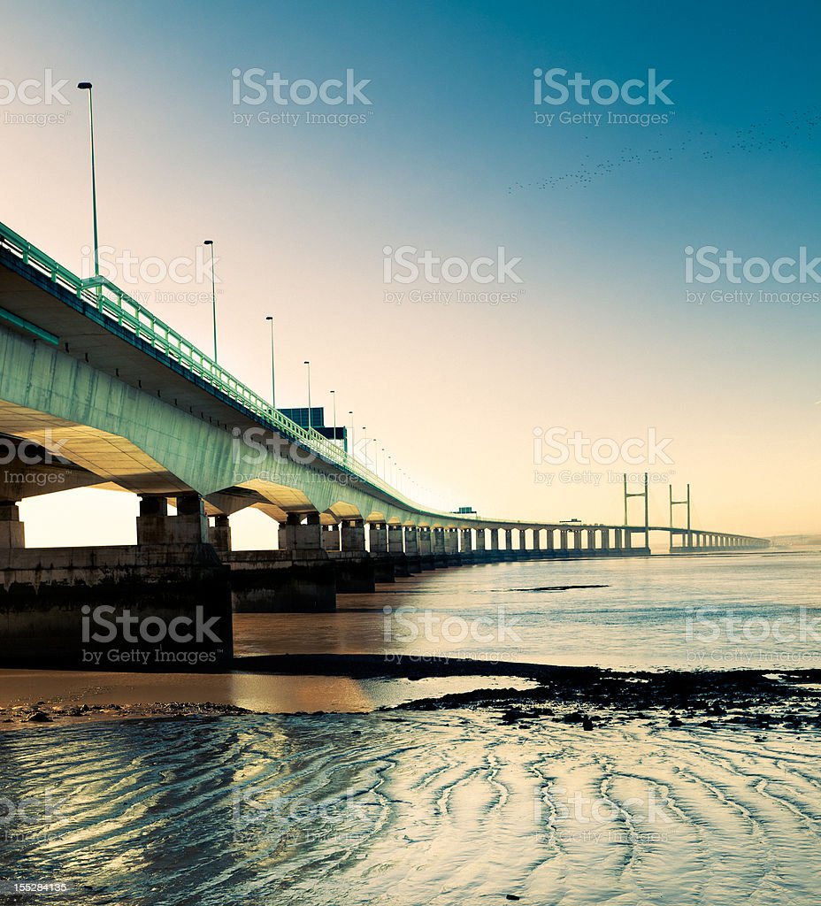 Second Severn Crossing bridge at night stock photo