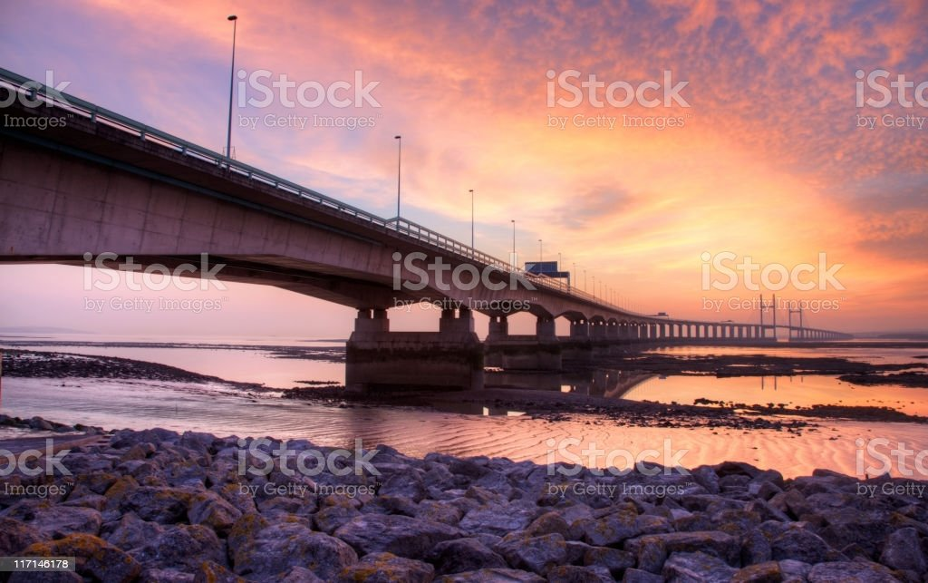 Second Severn Crossing bridge at sunset stock photo