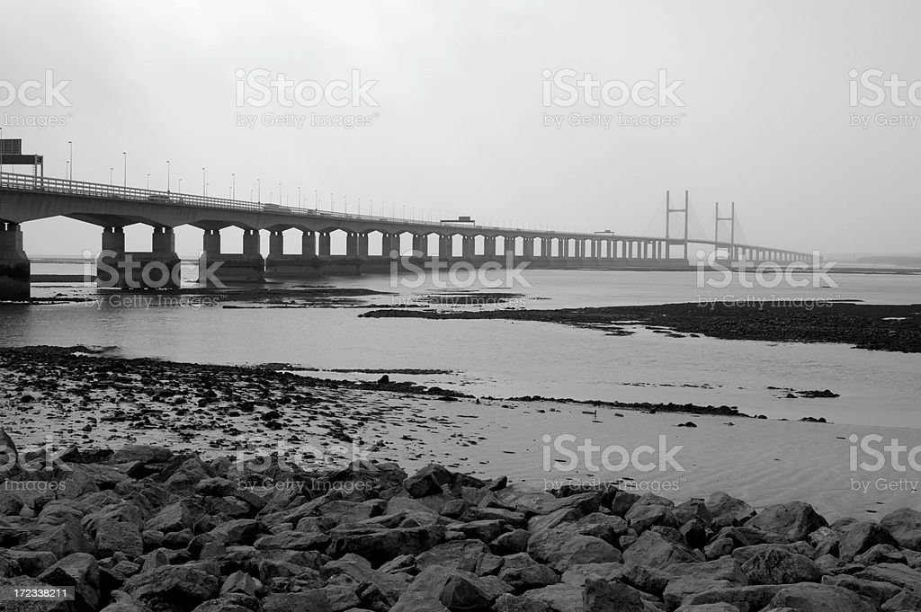 Second Severn Crossing bridge in mist stock photo