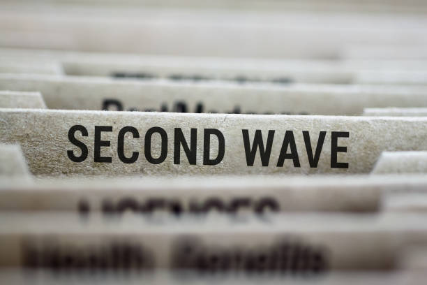 Second wave file folder stock photo
