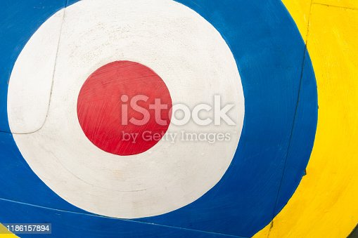 Close-up of an antique paintwork design known as a roundel, used by the British RAF during the second World War.