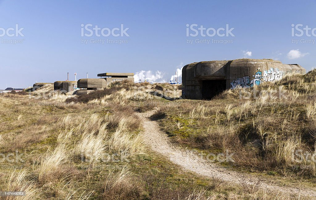 Second world war bunkers royalty-free stock photo