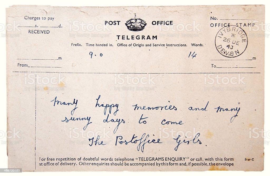 Second World War Vintage Telegram stock photo