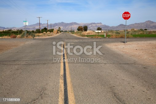 Two Roads crossing in the Agricultural area of  Blythe California. Located in the Palo Verde Valley of the lower Colorado River Valley .  Mountains in the background. Very green and well irrigated considering this is a desert area.