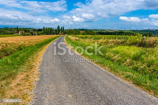 istock Secondary route in agrarian zone. Atlantic Pyrenees France 1063950522