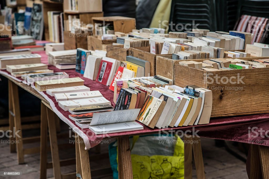 secondhand books on a stall in a French market place stock photo
