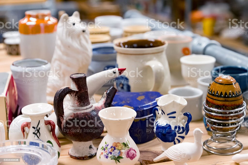 Second-hand crockery stock photo