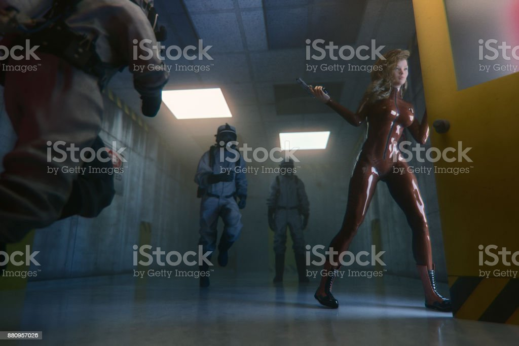 Secret agent escaping from underground government facility stock photo