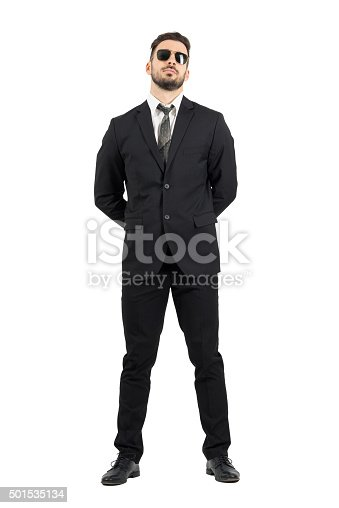 istock Secret agent or guard with hands behind back wearing sunglasses 501535134