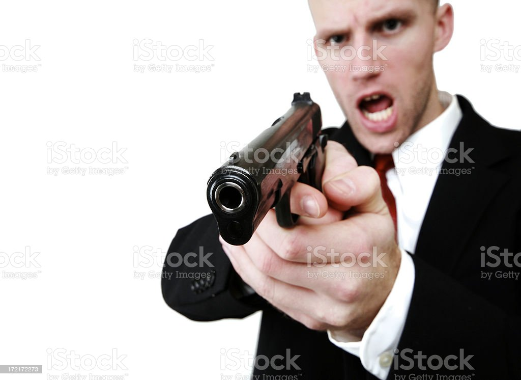Secret Agent Spy Aims A Hand Gun royalty-free stock photo