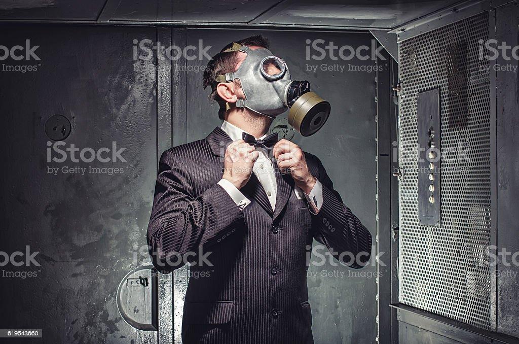 Secret agent, terrorist or businessman of apocalypse? stock photo