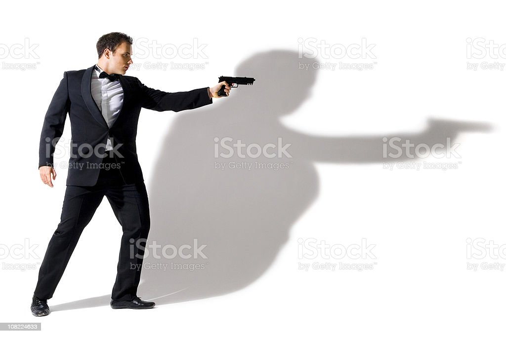 Secret Agent Wearing Tuxedo stock photo