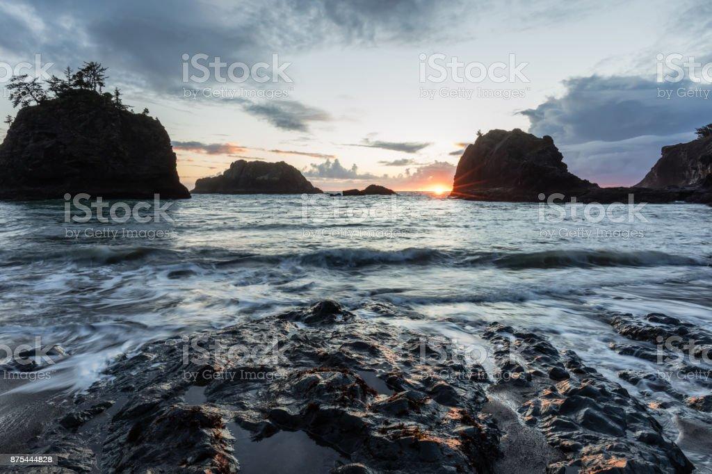 Secret Beach on the Oregon Coast, Blue Hour stock photo
