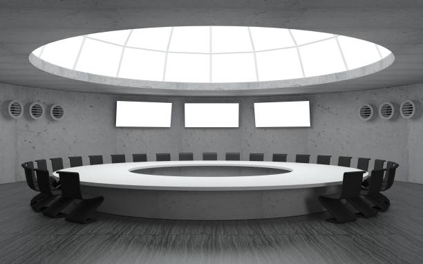 Secret bunker meeting 3D illustration. Conference room for meetings with a dome round shape with a large table. Secret underground military bunker bomb shelter stock pictures, royalty-free photos & images