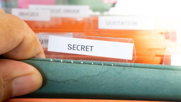 Secret business document file on office cabinet - foto stock