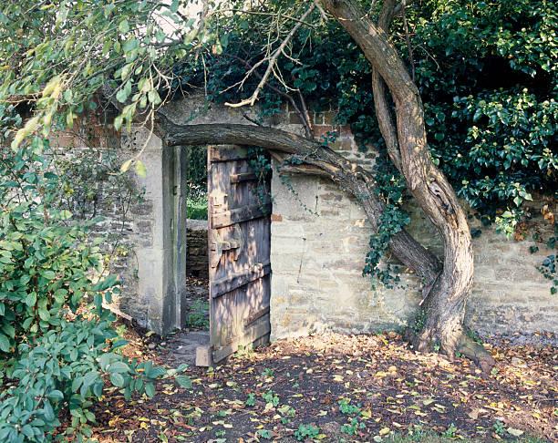 secret garden zimmer - steine für gartenmauer stock-fotos und bilder