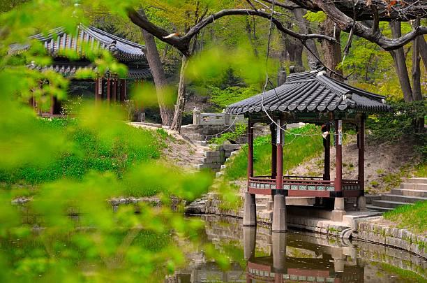 geheimer garten (huwon) - steine für gartenmauer stock-fotos und bilder