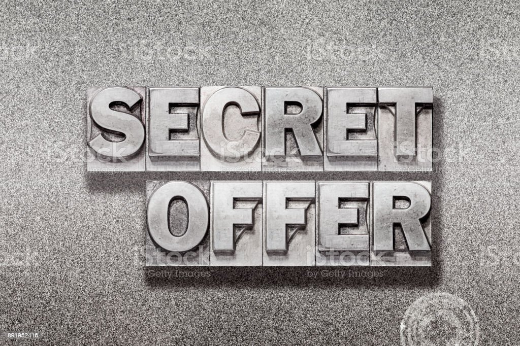 secret offer on metallic stock photo