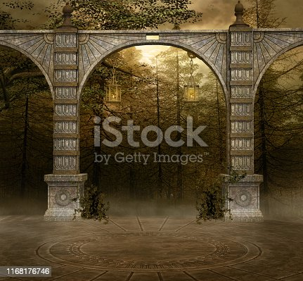 Background with ancient arcades in a misty forest - 3D render