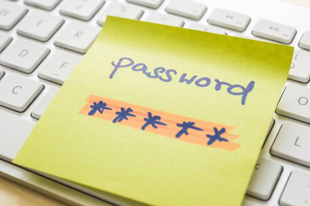Secret password encryption message on keyboard. stock photo