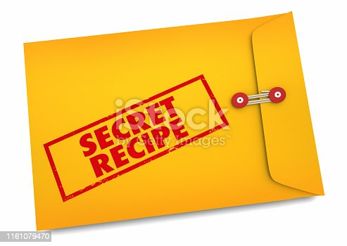Secret Recipe Food Cooking Ingredients Envelope 3d Illustration