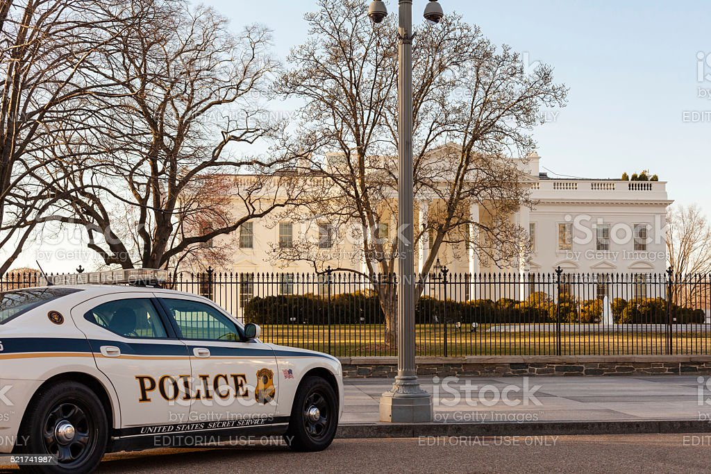Secret service Police car in front of the White House stock photo