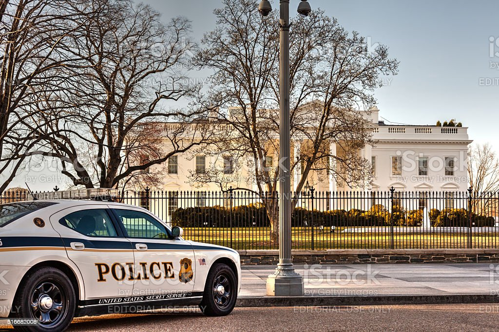 Secret Service Police in front of White House stock photo