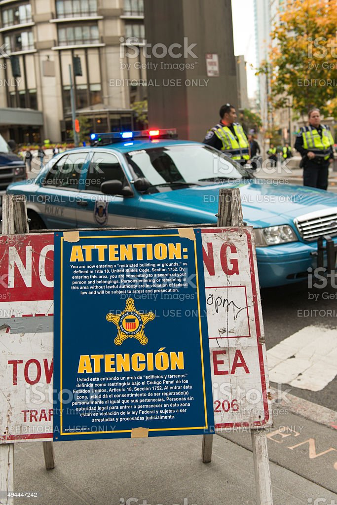 Secret Service Warning stock photo