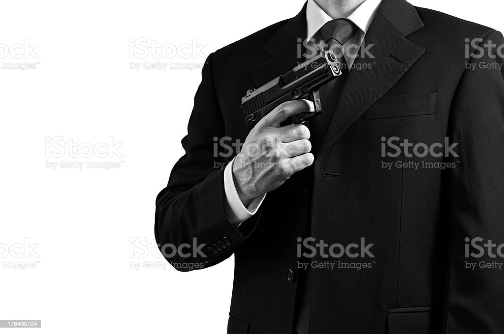 Secret spy agent against white royalty-free stock photo