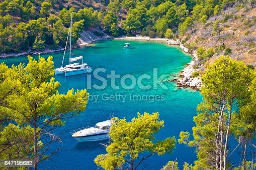 istock Secret turquoise beach yachting and sailing, Island of Brac, Dalmatia, Croatia 647195682
